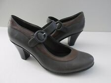 Clarks Bendables Size 9 Two Tone Gray+Brown Leather Mary Jane Pumps Shoes