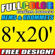 Custom 8' x 20' FT Banner 16oz Vinyl/Flex Outdoor premium Quality Advertise Sign
