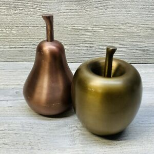 Metal Apple & Pear - Home Decor Decorative Paperweight Or Table Display Heavy