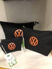 set of 3 VW 100% organic cotton wash makeup accessory bag black orange campervan