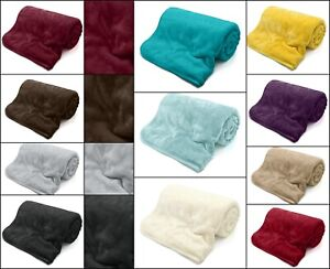 Mink Faux Fur Throw Fleece Blanket  Sofa Bed Throw Large Soft Luxury All Sizes