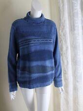 Blue Willi's Sz L Indigo Cotton Denim Jean Turtleneck Sweater Frayed Funky Art