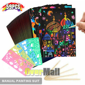 Scratch Art for Kids 50PCS Paper with 5 Wooden Styluses 4 Stencils Magic Scratch