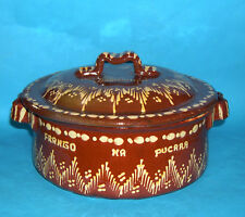 "Studio Pottery - Large Handsome ""Frango Na Pucarra"" Lidded Twin Handle Dish."
