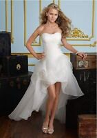 2018 New White/Ivory Front Short Long Wedding Dress Bridal Gown stock Size 4-16