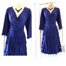 Frank Lyman Dark Purple Cowl Neck Ruffle Stretchy Dress Size 16