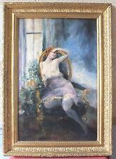hsp huile sur panneau dame au fauteuil peinture tableau signé Bouché