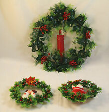 3 Vintage Christmas Wreaths Plastic Holly Light Up Candle Santa Kissing Kids