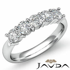 5 Stone Round Prong Diamond Womens Half Wedding Band 14k White Gold Ring 0.5Ct