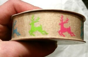 Celebrate It Christmas Ribbon Burlap Reindeer Pink Blue Green 7/8 x 3 Yd Bold