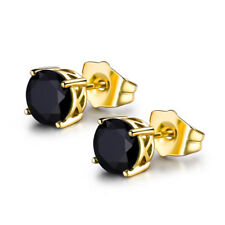 HUCHE Vintage Style Gothic Black Sapphire Gold Filled Studs Lady Daily Earrings