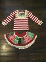 Mustard Pie EUC Boutique Baby Girl's Christmas Skirt Set 2T