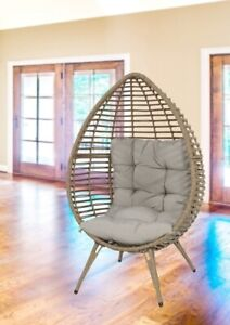 Relaxsessel Relaxstuhl Eiform Sitzei Rattan Korbsessel Shabby Loungesessel beige