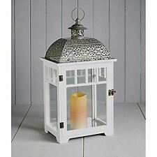 White Large Cole & Bright Lantern Indoor/Outdoor Garden Light Glass Wood & Metal