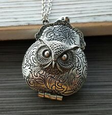 Handmade Antique Silver Victorian Owl Purse Necklace