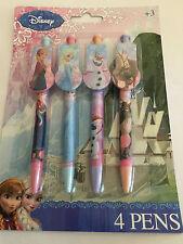 Childrens 4 de marque caractère clip sur stylos cadeau de noël école congelés anna elsa
