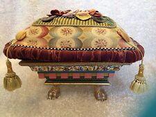 Mackenzie Childs Retired Original Flower Box Foot Stool, Ottoman, Pillow Top