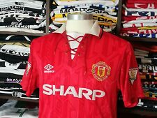 MANCHESTER UNITED home 1992-94 shirt -CANTONA #7-France-Leeds-Umbro-Utd-Jersey-M
