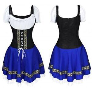 Dutch Oktoberfest Beer Girl Bar Waitress Uniform Maid Costume Dress for Cosplay