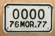 """1976 1977 MOR MORELOS MEXICO MOTORCYCLE  CYCLE  SAMPLE LICENSE PLATE  """" 0000 """""""
