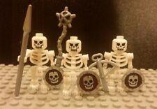 Lego NEW Castle Set/3 Custom Fantasy Era White Skeleton Warrior Minifigs