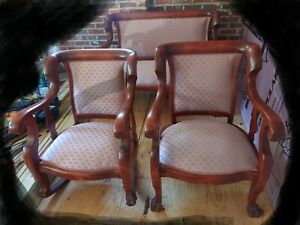 Antique Mahogany Empire Parlor Set: Settee, Armchair, Rocking Chair