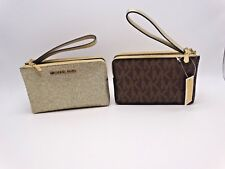 MICHAEL KORS Fulton Large Zip Top Clutch Wristlet Natural Embossed Leather New