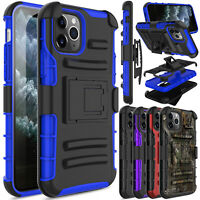 For iPhone 11/11 Pro Max Shockproof Kickstand Belt Clip Holster Armor Case Cover