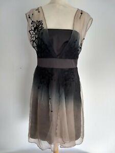 BNWT Coast 100% Silk Midi Black Nude Angela Sheer Dress Size 14 Wedding RRP £160