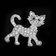 Rhinestone Cat Brooch Sparkly Encrusted Lucky Pin Cute Kitten Badge Jewelry Shan