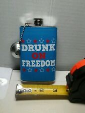 flask drunk on freedom stainless steel novelty drinking  accessory 5oz Men gift