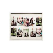Washing Line Photo Frame, 10 Peg, White Plastic Frame