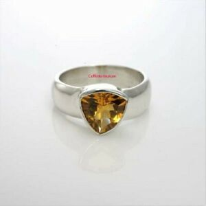 Natural Citrine Gemstone with 925 Sterling Silver Ring For Men's