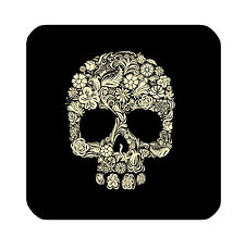 DRINK COASTERS - Black/Tan Sugar Skull - Set of 4 - glossy wood bar accessories