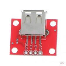 5x USB-A Female Breakout Board 2.54mm Header