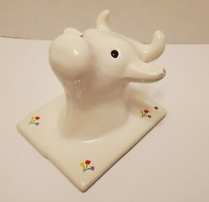 Vintage White Ceramic Bull Head Towel Apron Holder Wall Hook with Glass Eyes