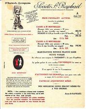 GRILLE TARIF 1937 SOCIETE ST RAPHAEL PARIS