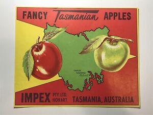 Vintage Original Fruit Crate Label IMPEX BRAND Tasmanian Fancy Apples