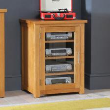 London Solid Oak Hi-Fi Media Unit Storage Cabinet - Glazed Shelf Stand - UK42