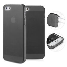 TPU Case iPhone 5 5S SE Silikon Hülle Schale Cover MattClear Staubschutz Schwarz