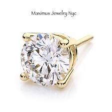 Diamond Brilliant Men's Single Stud Earrings 100% Natural 14K Yellow Gold 0.25CT