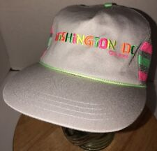 Vintage WASHINGTON DC 80s 90s Trucker Hat Cap NEON SIDE STRIPES Silberne Sales