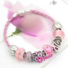 Breast Cancer Bracelet 9 Charms Pink Braided Awareness Ribbon Survivor bracelet