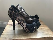Barratts Animal Print Bow Detail Peep Toe Shoes/Heels Size UK 4