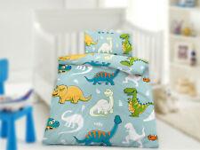 Baby Kinder Bettwäsche Mikrofaser 100x135 cm, Kissenbezug 40x60 cm Dinos Blau