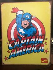 "Marvel ""Captain America""  - Retro Metal Panel Tin Sign Wall Art 12.5"" X 16"""