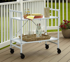 Food Serving Cart White Wine Rack Metal Rolling Trolley Folding Inside & Outside