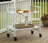 Food Serving Cart White Wine Rack Metal Rolling Trolley Folding Inside & Outside