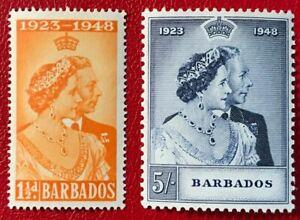 BARBADOS Sc#210-211 1948 King George & Queen Elizabeth Mint NH/H-? OG VF (18-156