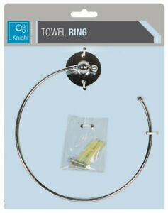 METAL CHROME EFFECT ROUND TOWEL RING HOLDER WALL MOUNTED KITCHEN BATHROOM